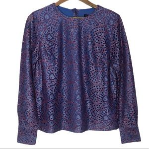 Banana Republic M Blue & Red Lace Boxy Top New